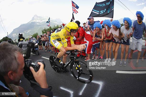 Chris Froome of Great Britain and Team Sky wears the yellow jersey as he rides during stage eighteen of the 2016 Le Tour de France from Sallanches to...