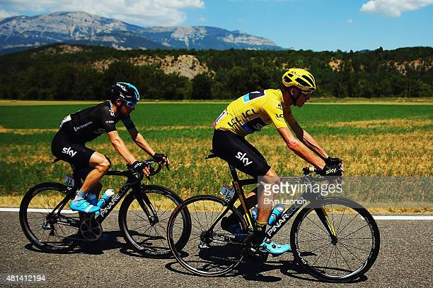 Chris Froome of Great Britain and Team Sky with team mate Leoplod Konig of the Czech Republic and Team Sky during the sixteenth stage of the 2015...