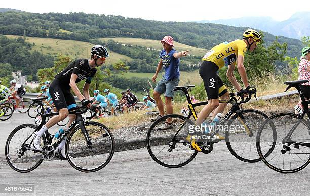 Chris Froome of Great Britain leads Wout Poels of the Netherlands and Team Sky during stage eighteenth of the 2015 Tour de France a 1865 km stage...