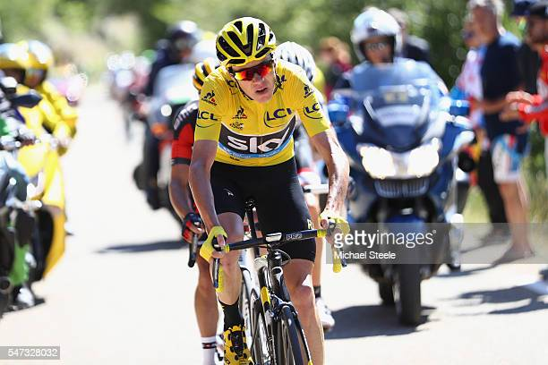 Chris Froome of Great Britain on the climb to Mont Ventoux during the 12th stage of Le Tour de France from Montpellier to Mont Ventoux on July 14...