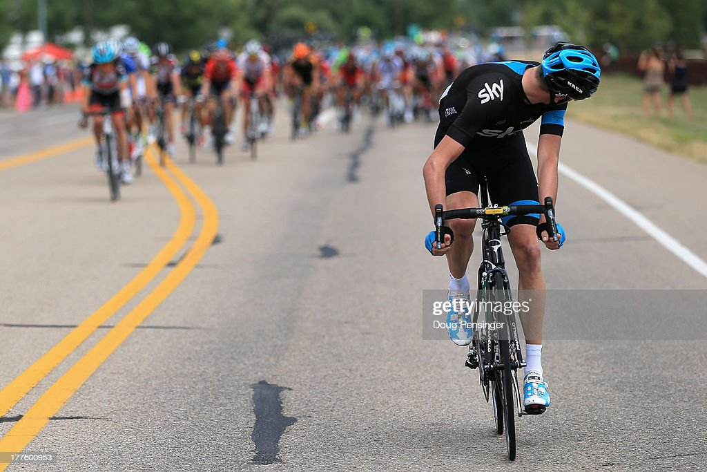 Chris Froome of Great Britain riding for Sky Pro Cycling looks back at the peloton as he launches an attack early in stage six of the 2013 USA Pro Challenge from Loveland to Fort Collins on August 24, 2013 in Loveland, Colorado.