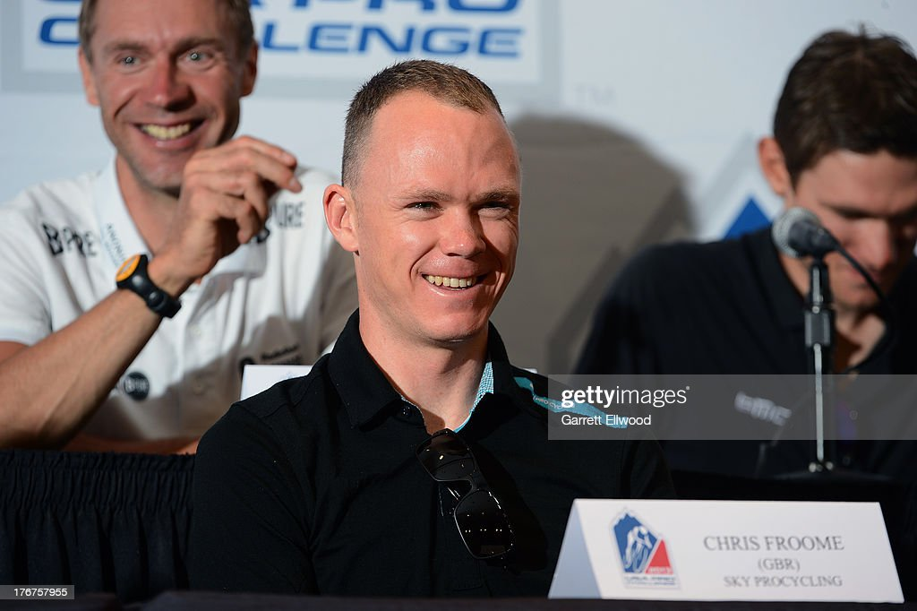<a gi-track='captionPersonalityLinkClicked' href=/galleries/search?phrase=Chris+Froome&family=editorial&specificpeople=5428054 ng-click='$event.stopPropagation()'>Chris Froome</a> of Great Britain riding for Sky Procycling has a laugh during the Kick-Off Press Conference prior to the start of the USA Pro Challenge at the Paepcke Auditorium on August 18, 2013 in Aspen, Colorado. Copyright 2013