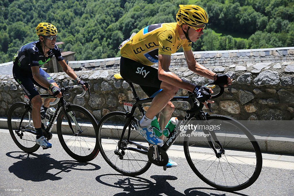 Chris Froome of Great Britain riding for Sky Procycling is followed by Aljeandro Valverde of Spain riding for Team Movistar during stage nine of the 2013 Tour de France, a 168.5KM road stage from Saint-Girons to Bagneres-de-Bigorre, on July 7, 2013 in Bagneres-de-Bigorre, France.