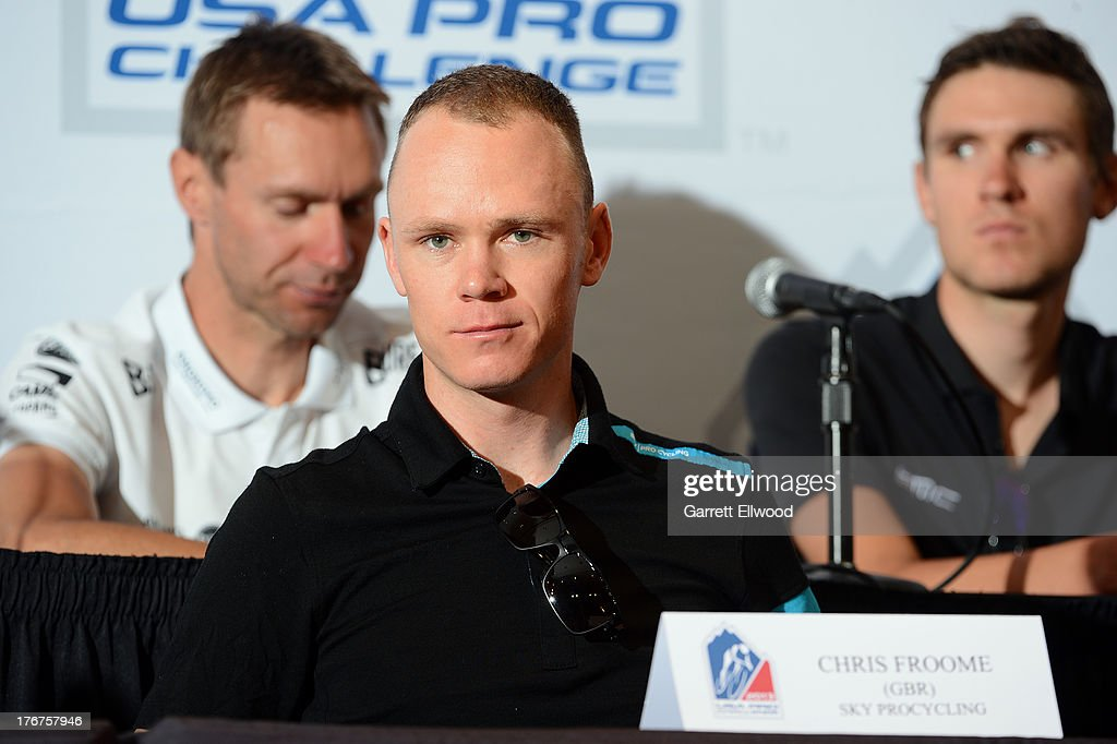 <a gi-track='captionPersonalityLinkClicked' href=/galleries/search?phrase=Chris+Froome&family=editorial&specificpeople=5428054 ng-click='$event.stopPropagation()'>Chris Froome</a> of Great Britain riding for Sky Procycling listens to a question from the media during the Kick-Off Press Conference prior to the start of the USA Pro Challenge at the Paepcke Auditorium on August 18, 2013 in Aspen, Colorado. Copyright 2013