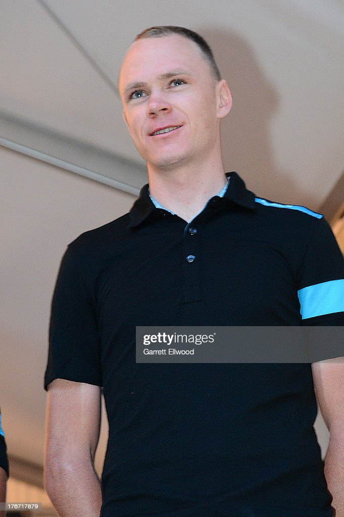 <a gi-track='captionPersonalityLinkClicked' href=/galleries/search?phrase=Chris+Froome&family=editorial&specificpeople=5428054 ng-click='$event.stopPropagation()'>Chris Froome</a> of Great Britain riding for Sky Procycling stands on stage at the team presentation ceremony prior to the start of the USA Pro Challenge on August 17, 2013 in Snowmass Village, Colorado.