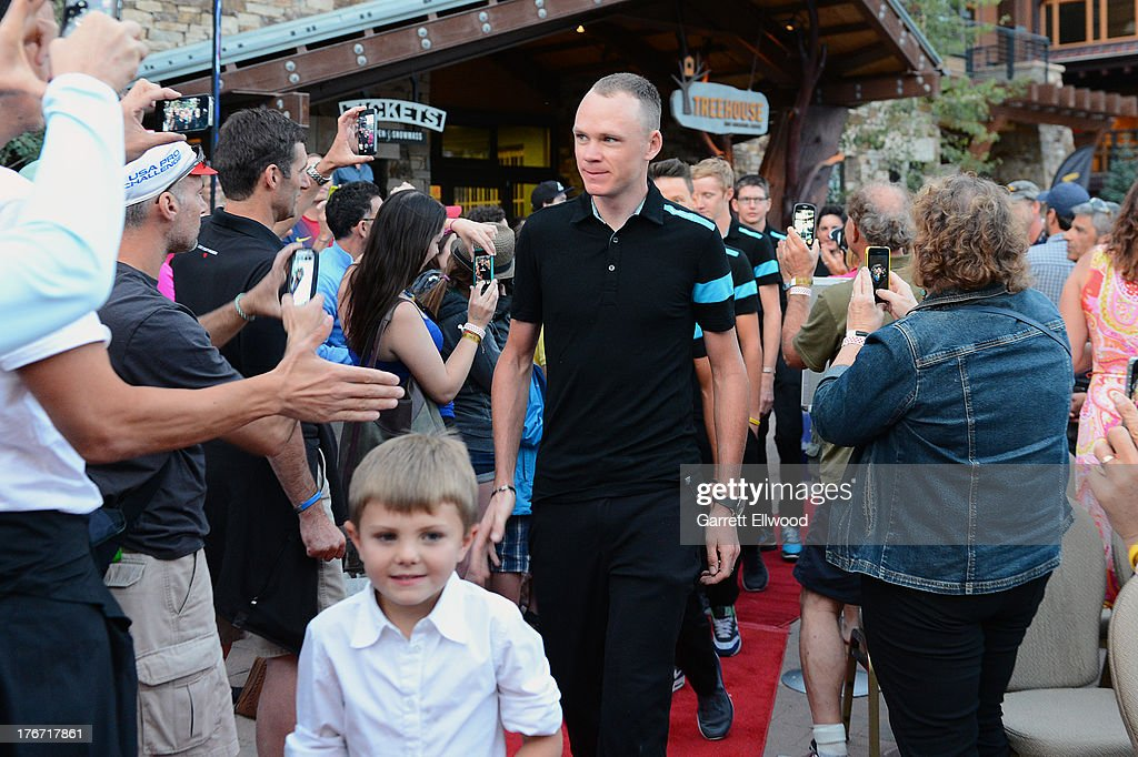 <a gi-track='captionPersonalityLinkClicked' href=/galleries/search?phrase=Chris+Froome&family=editorial&specificpeople=5428054 ng-click='$event.stopPropagation()'>Chris Froome</a> of Great Britain riding for Sky Procycling walks down the red carpet at the team presentation ceremony prior to the start of the USA Pro Challenge on August 17, 2013 in Snowmass Village, Colorado.