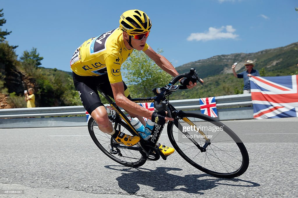 <a gi-track='captionPersonalityLinkClicked' href=/galleries/search?phrase=Chris+Froome&family=editorial&specificpeople=5428054 ng-click='$event.stopPropagation()'>Chris Froome</a> of Great Britain riding for Team Sky descends the Col des Leques as he defends the overall race leader yellow jersey during stage 17 of the 2015 Tour de France from Digne-Les-Bains to Pra Loup on July 22, 2015 in Castellane, France.
