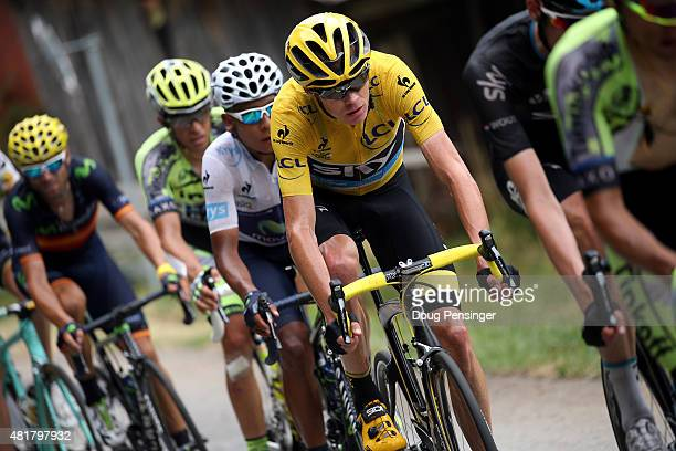Chris Froome of Great Britain riding for Team Sky in the overall race leader yellow jersey is followed by Nairo Quintana of Colombia riding for...