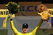 Chris Froome of Great Britain riding for Team Sky is presented with the yellow leaders jersey on the podium at stage twelve of the 2016 Le Tour de...