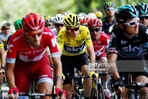 Chris Froome of Great Britain riding for Team Sky wearing the yellow leaders jersey rides in the peloton during stage twelve of the 2016 Le Tour de...