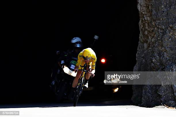 Chris Froome of Great Britain riding for Team Sky wearing the yellow leaders jersey rides during stage thirteen of the 2016 Le Tour de France a 375...
