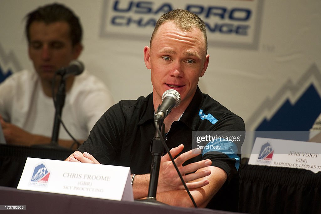 <a gi-track='captionPersonalityLinkClicked' href=/galleries/search?phrase=Chris+Froome&family=editorial&specificpeople=5428054 ng-click='$event.stopPropagation()'>Chris Froome</a> of Great Britain, the 2013 Tour de France champion riding for Sky Procycling, speaks during a pre-race press conference for the USA Pro Challenge at the Aspen Institute on August 18, 2013, in Aspen, Colorado.