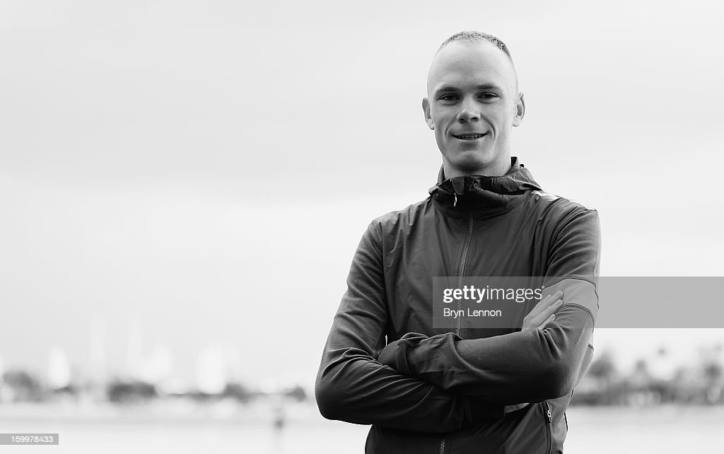 <a gi-track='captionPersonalityLinkClicked' href=/galleries/search?phrase=Chris+Froome&family=editorial&specificpeople=5428054 ng-click='$event.stopPropagation()'>Chris Froome</a> of Team SKY attends a Team Sky Media Day in Puerto de Alcudia on January 24, 2013 in Mallorca, Spain.