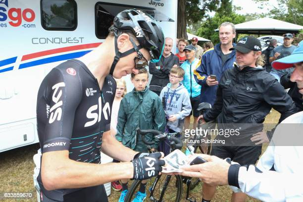 Chris Froome of Team Sky signs autographs for fans before stage 4 at Kinglake as part of the 2017 Jayco Herald Sun Tour on February 05 2017 in...