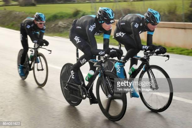 Chris Froome on a training ride with Kanstantsin Siutsou and Vasil Kirylenka near Alcudia during the Team Sky Media Day in Majorca
