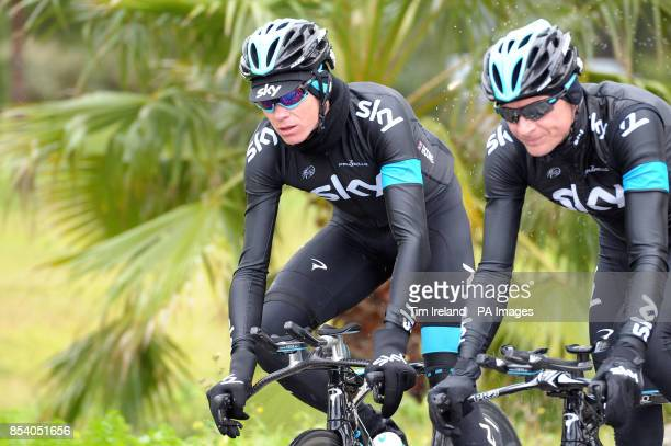 Chris Froome on a training ride with Kanstantsin Siutsou near Alcudia during the Team Sky Media Day in Majorca