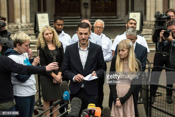 Chris Gard and Connie Yates the parents of terminally ill baby Charlie Gard speak to the media outside following their decision to end their legal...