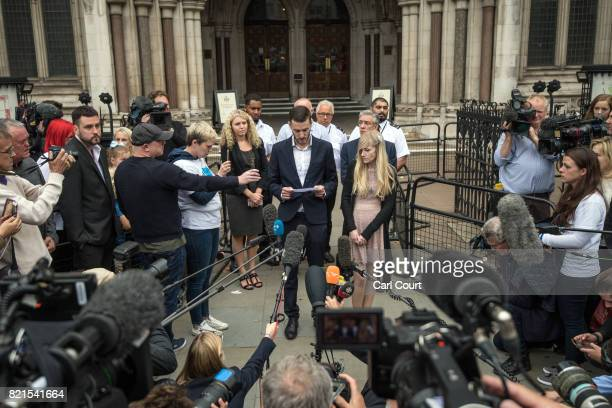Chris Gard and Connie Yates the parents of terminally ill baby Charlie Gard speak to the media outside following their decision2 to end their legal...