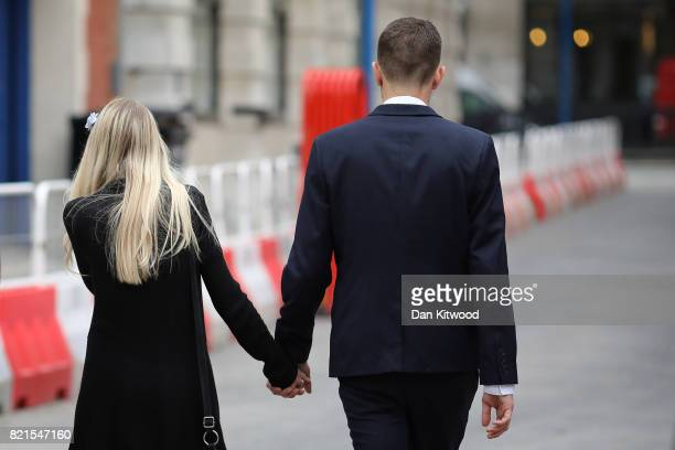 Chris Gard and Connie Yates the parents of terminally ill baby Charlie Gard leave the High Court after their decision to end their legal challenge to...
