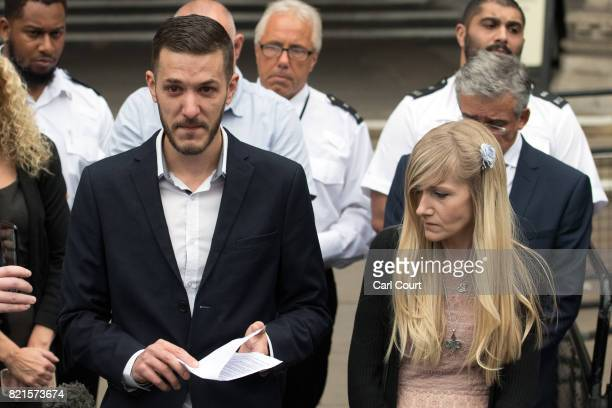 Chris Gard and Connie Yates the parents of terminally ill baby Charlie Gard speak to the media following their decision to end their legal challenge...