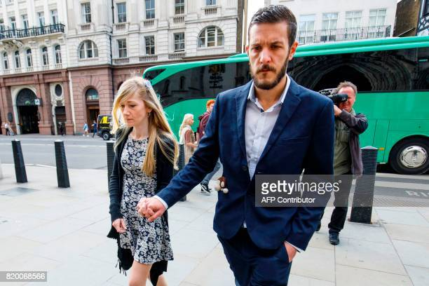 Chris Gard and Connie Yates the parents of terminallyill 11monthold Charlie Gard arrive at the Royal COurts of Justice London's High Court in central...