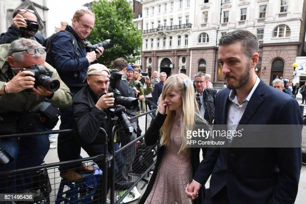 Chris Gard and Connie Yates the parents of terminallyill 11monthold Charlie Gard arrive at the Royal Courts of Justice in London on July 24 2017 The...