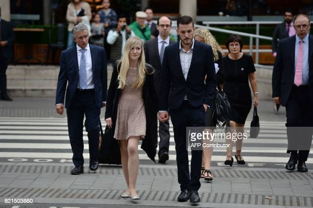Chris Gard and Connie Yates the parents of terminallyill 11monthold Charlie Gard arrive at Royal Courts of Justice in London on July 24 2017 The...