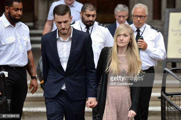 Chris Gard and Connie Yates the parents of terminallyill 11monthold Charlie Gard leave the Royal Courts of Justice in London on July 24 to read a...