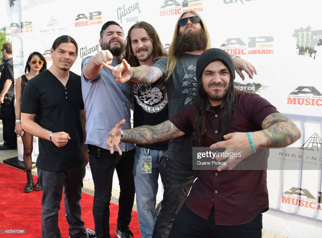 Chris Garza, Eddie Hermida, Daniel Kenny, Mark Heylmun and Alex Lopez of Suicide Silence attend the 2014 Gibson Brands AP Music Awards at the Rock and Roll Hall of Fame and Museum on July 21, 2014 in Cleveland, Ohio.