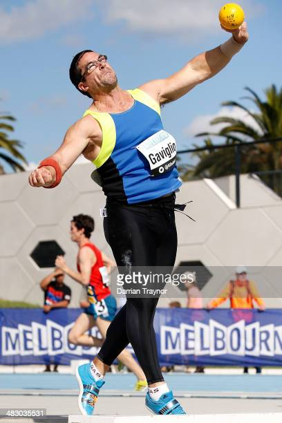 Chris Gaviglio competes in the men's shot put during the 92nd Australian Athletics Championships on April 6 2014 in Melbourne Australia