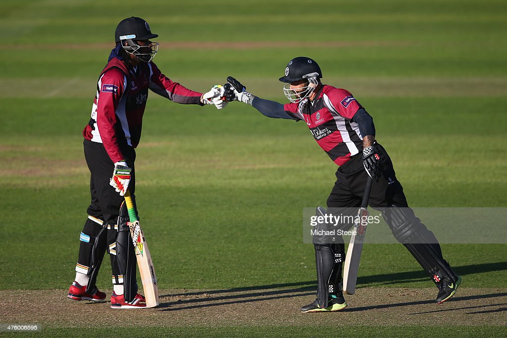 Chris Gayle and Peter Trego of Somerset during the NatWest T20 Blast match between Somerset and Hampshire at The County Ground on June 5 2015 in...