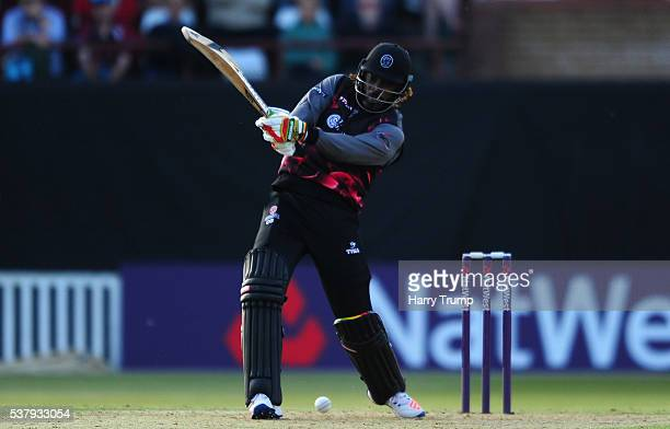 Chris Gayle of Somerset bats during the Natwest T20 Blast match between Somerset and Essex at The Cooper Associates County Ground on June 3 2016 in...