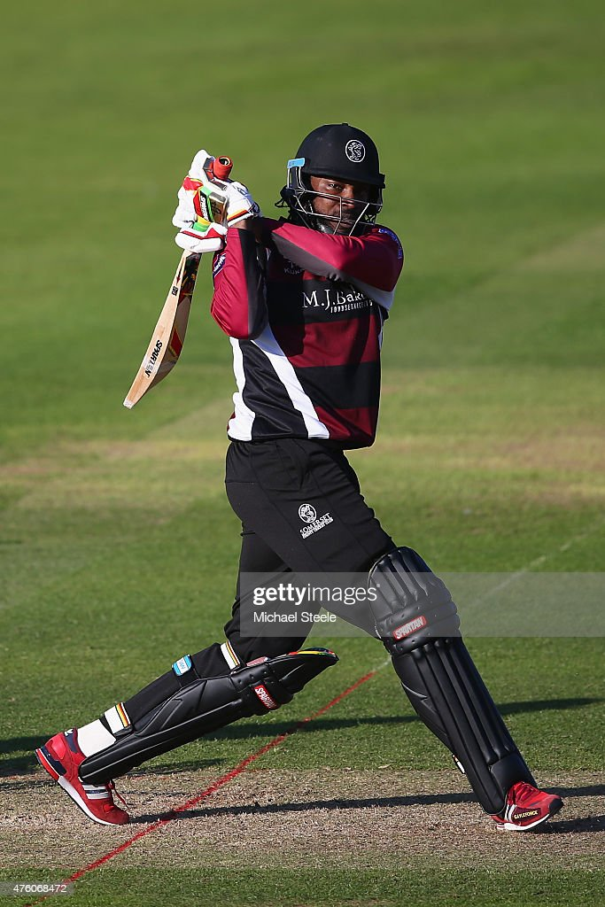 Chris Gayle of Somerset during the NatWest T20 Blast match between Somerset and Hampshire at The County Ground on June 5 2015 in Taunton England