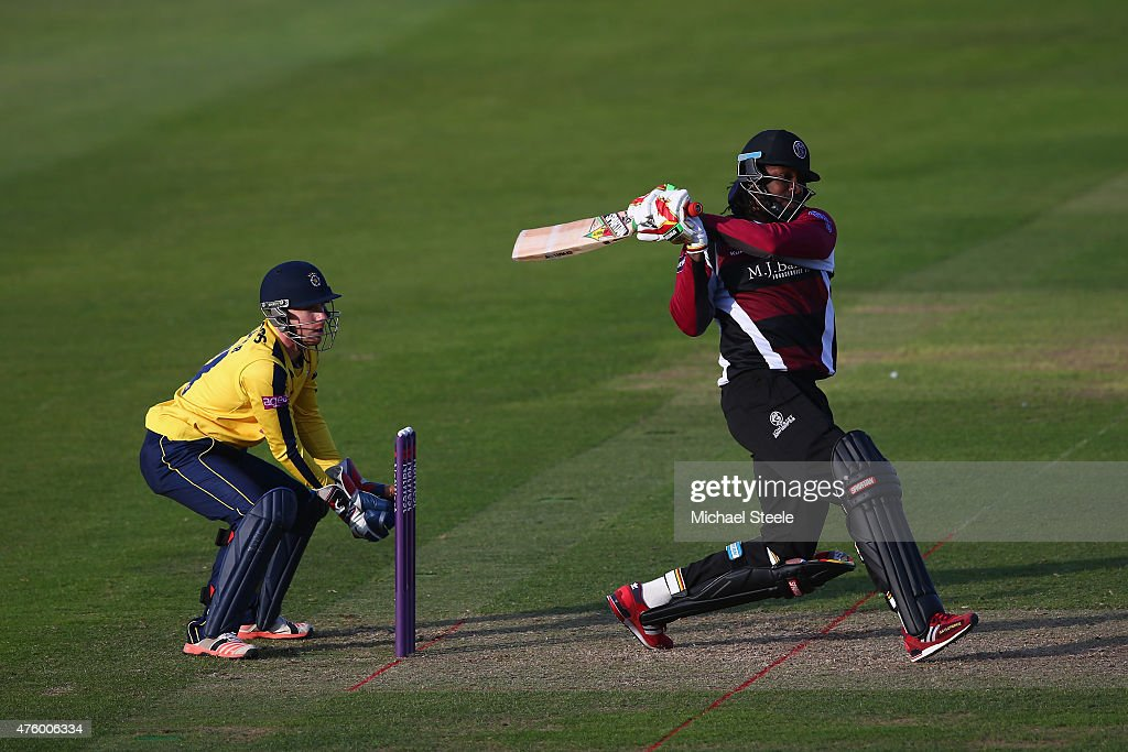 <a gi-track='captionPersonalityLinkClicked' href=/galleries/search?phrase=Chris+Gayle+-+Cricket+Player&family=editorial&specificpeople=206191 ng-click='$event.stopPropagation()'>Chris Gayle</a> of Somerset hits to the legside as wicketkeeper Adam Wheater of Hampshire looks on during the NatWest T20 Blast match between Somerset and Hampshire at The County Ground on June 5, 2015 in Taunton, England.