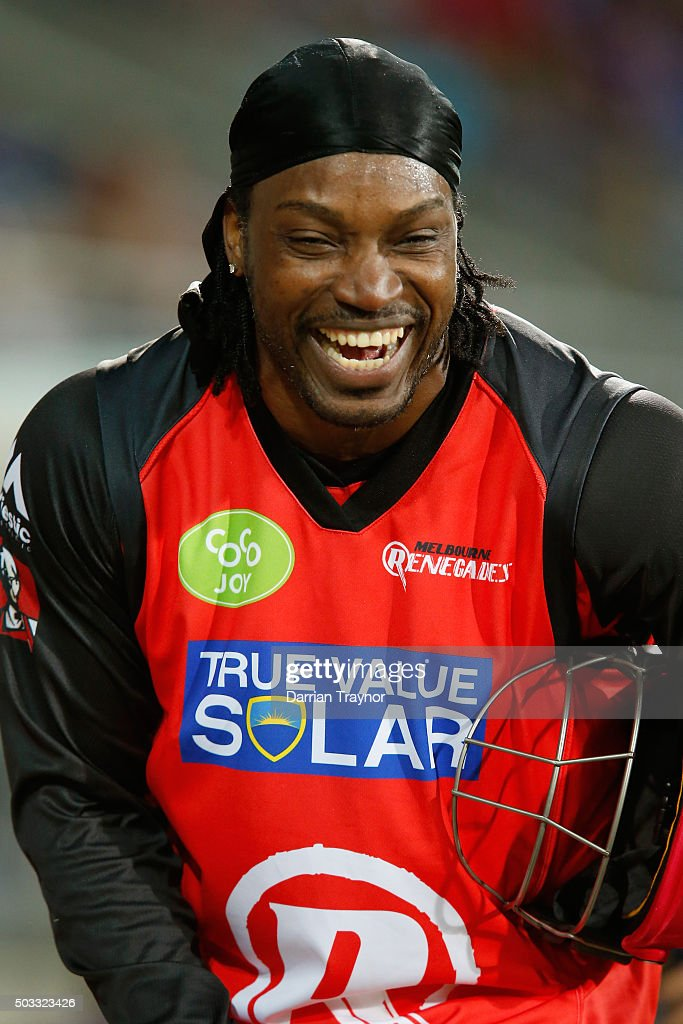 Chris Gayle of the Melbourne Renegades enjoys himself after a scoring 41 runs off just 15 balls during the Big Bash League match between the Hobart Hurricanes and the Melbourne Renegades at Blundstone Arena on January 4, 2016 in Hobart, Australia.