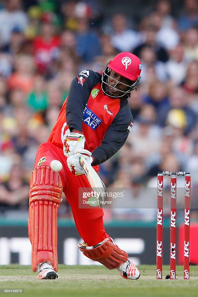 <a gi-track='captionPersonalityLinkClicked' href=/galleries/search?phrase=Chris+Gayle+-+Cricket+Player&family=editorial&specificpeople=206191 ng-click='$event.stopPropagation()'>Chris Gayle</a> of the Melbourne Renegades hits Adam Zampa of the Melbourne Stars for 6 during the Big Bash League match between the Melbourne Renegades and the Melbourne Stars at Etihad Stadium on January 9, 2016 in Melbourne, Australia.