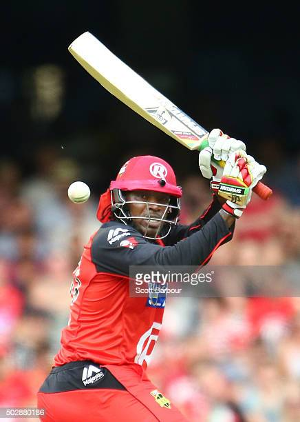 Chris Gayle of the Renegades bats during the Big Bash League match between the Melbourne Renegades and the Perth Scorchers at Etihad Stadium on...