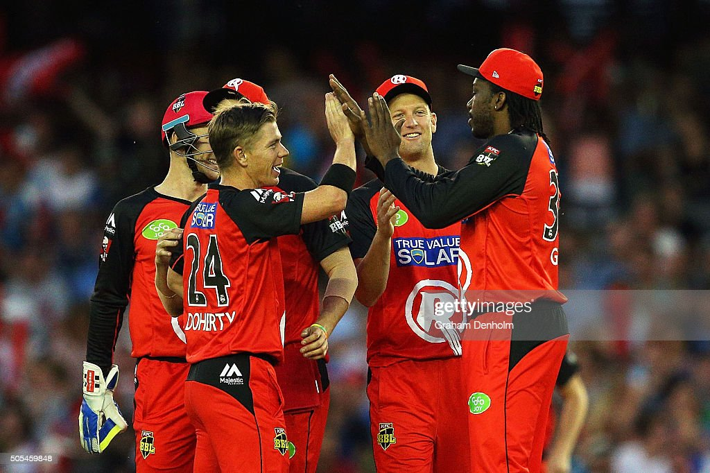 <a gi-track='captionPersonalityLinkClicked' href=/galleries/search?phrase=Chris+Gayle+-+Cricket+Player&family=editorial&specificpeople=206191 ng-click='$event.stopPropagation()'>Chris Gayle</a> of the Renegades (R) celebrates with teammate <a gi-track='captionPersonalityLinkClicked' href=/galleries/search?phrase=Xavier+Doherty&family=editorial&specificpeople=2098624 ng-click='$event.stopPropagation()'>Xavier Doherty</a> (L) after taking a catch to dismiss Tim Ludeman of the Strikers from the bowling of Doherty during the Big Bash League match between the Melbourne Renegades and the Adelaide Strikers at Etihad Stadium on January 18, 2016 in Melbourne, Australia.