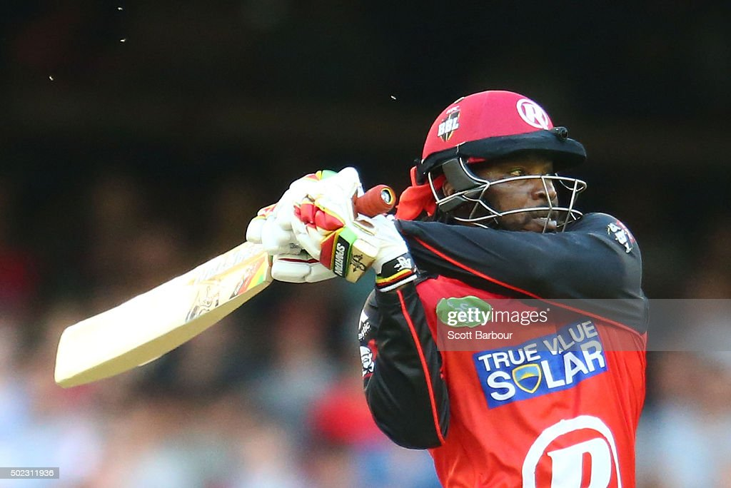 <a gi-track='captionPersonalityLinkClicked' href=/galleries/search?phrase=Chris+Gayle+-+Cricket+Player&family=editorial&specificpeople=206191 ng-click='$event.stopPropagation()'>Chris Gayle</a> of the Renegades hits a six during the Big Bash League match between the Melbourne Renegades and the Sydney Sixers at Etihad Stadium on December 23, 2015 in Melbourne, Australia.
