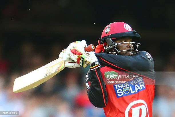 Chris Gayle of the Renegades hits a six during the Big Bash League match between the Melbourne Renegades and the Sydney Sixers at Etihad Stadium on...