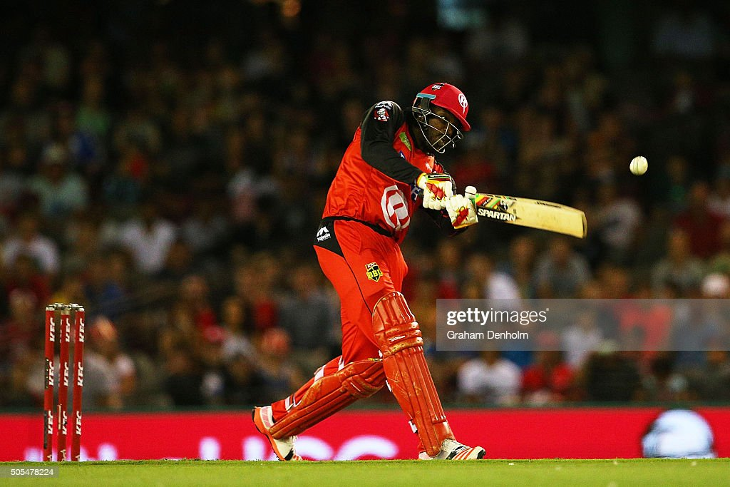 <a gi-track='captionPersonalityLinkClicked' href=/galleries/search?phrase=Chris+Gayle+-+Cricket+Player&family=editorial&specificpeople=206191 ng-click='$event.stopPropagation()'>Chris Gayle</a> of the Renegades hits a six during the Big Bash League match between the Melbourne Renegades and the Adelaide Strikers at Etihad Stadium on January 18, 2016 in Melbourne, Australia.