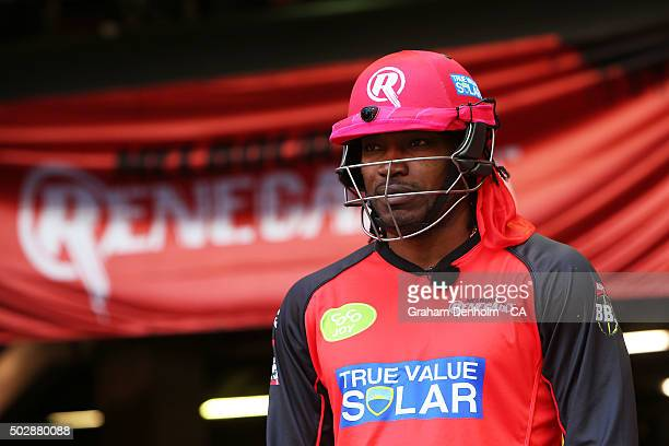Chris Gayle of the Renegades looks on during the Big Bash League match between the Melbourne Renegades and the Perth Scorchers at Etihad Stadium on...