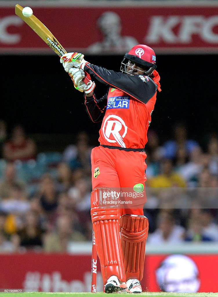 <a gi-track='captionPersonalityLinkClicked' href=/galleries/search?phrase=Chris+Gayle+-+Cricket+Player&family=editorial&specificpeople=206191 ng-click='$event.stopPropagation()'>Chris Gayle</a> of the Renegades plays a shot during the Big Bash League match between the Brisbane Heat and the Melbourne Renegades at The Gabba on December 19, 2015 in Brisbane, Australia.