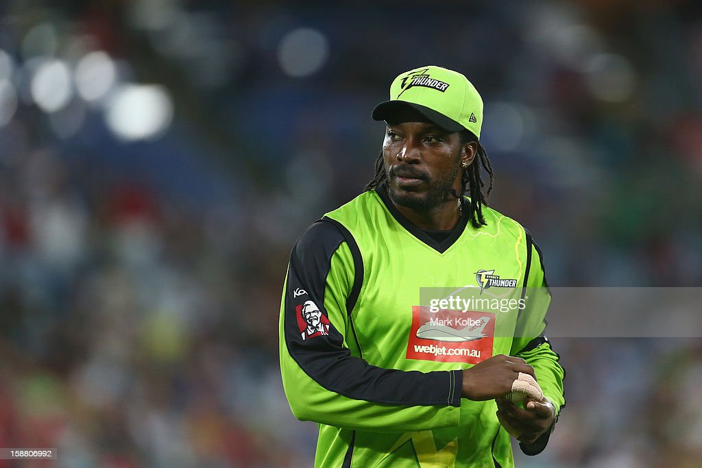 Chris Gayle of the Thunder looks on during the Big Bash League match between Sydney Thunder and the Sydney Sixers at ANZ Stadium on December 30, 2012 in Sydney, Australia.