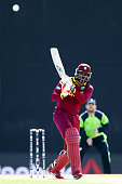Chris Gayle of the West Indies bats during the 2015 ICC Cricket World Cup match between the West Indies and Ireland at Saxton Field on February 16...
