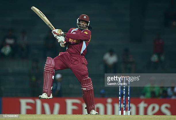 Chris Gayle of the West Indies bats during the ICC World Twenty20 2012 Group B match between Australia and the West Indies at R Premadasa Stadium on...