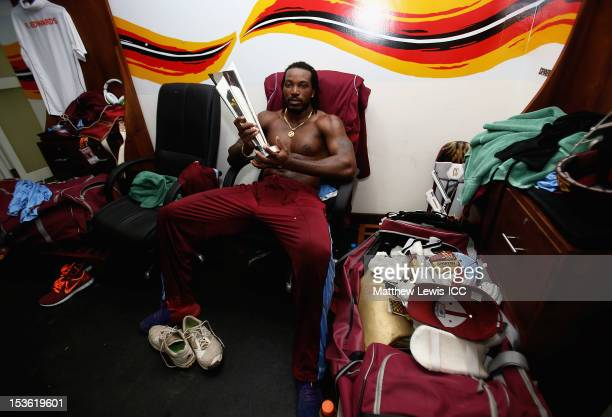 Chris Gayle of the West Indies celebrate winning the ICC World Twenty20 2012 Final between Sri Lanka and West Indies at R Premadasa Stadium on...