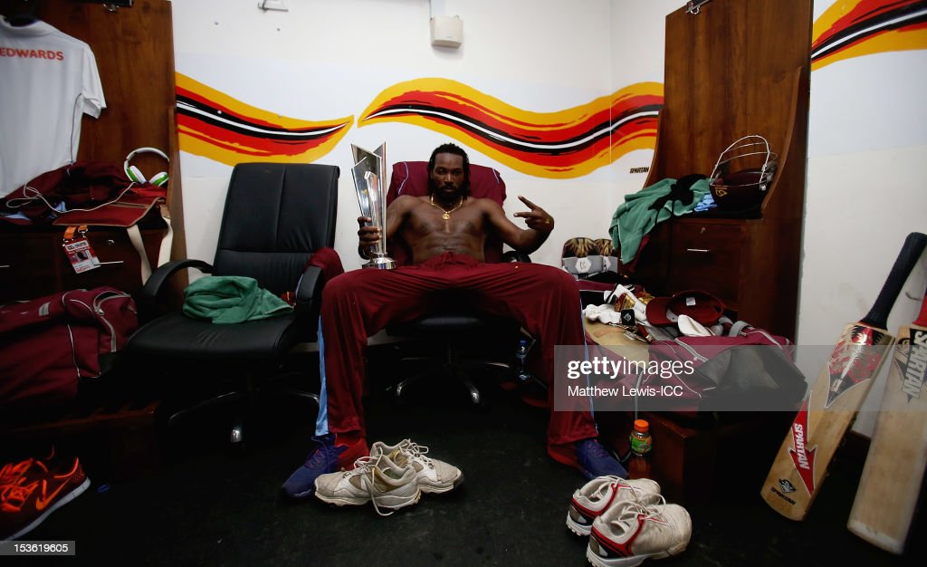 <a gi-track='captionPersonalityLinkClicked' href=/galleries/search?phrase=Chris+Gayle+-+Cricket+Player&family=editorial&specificpeople=206191 ng-click='$event.stopPropagation()'>Chris Gayle</a> of the West Indies celebrate winning the ICC World Twenty20 2012 Final between Sri Lanka and West Indies at R. Premadasa Stadium on October 7, 2012 in Colombo, Sri Lanka.