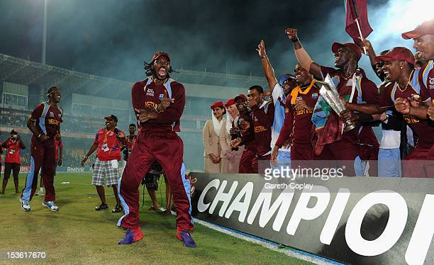 Chris Gayle of the West Indies celebrates after winning the ICC World Twenty20 2012 Final between Sri Lanka and the West Indies at R Premadasa...