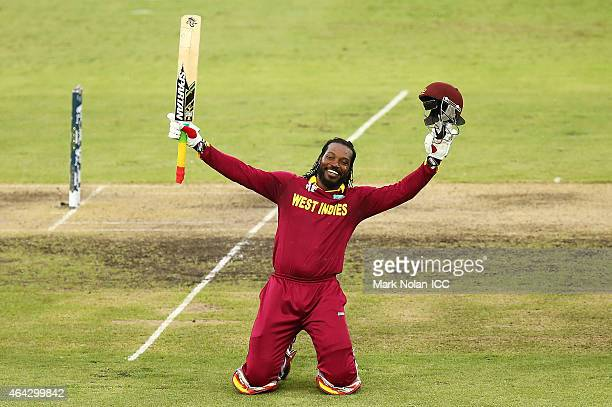 Chris Gayle of the West Indies celebrates and acknowledges the crowd after scoring a double century during the 2015 ICC Cricket World Cup match...